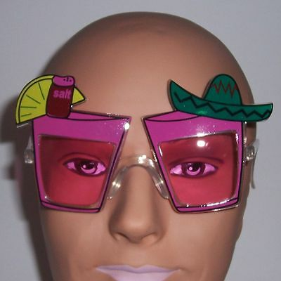 Pink Tropical Drink Sunglasses - Party Fun Glasses - Costume Novelty