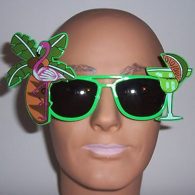 Green Tropical Drink Sunglasses - Party Fun Glasses - Costume Novelty