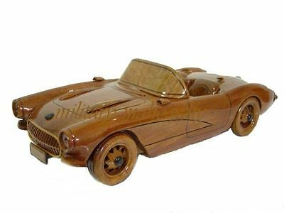 1957 Corvette Convertible Mahogany Wood Wooden Model Desk Classic Car Replica