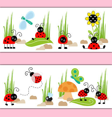 Ladybug Wallpaper Border Wall Art Decal Sticker Baby Girl Lady Bug Nursery Decor