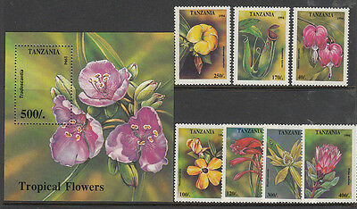 Stamps 1994 Tanzania native flowers set of 7 plus mini sheet MUH, nice thematics