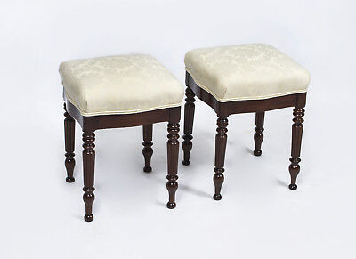 Antique Pair French Mahogany Stools c.1880
