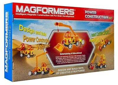 Magformers 63090 Power Construction 47 Piece Set Magnetic Building Vehicles