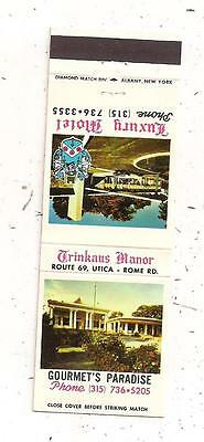 Trinkaus Manor Route 69 Utica NY Luxury Motel Matchcover 120115