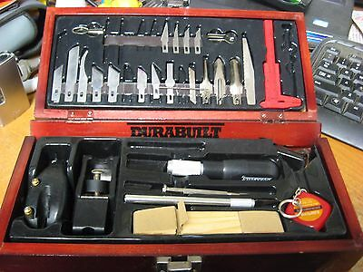 Durabuilt Hobby Woodworking / Carving Set w/ Wooden Case Incomplete