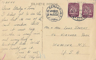 Stamps Portugal on 1944 postcard sent to USA censored by US Censor 8081