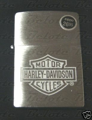 Zippo Harley Davidson HD Logo Brushed Chrome Windproof Lighter 200HD.H199 NEW