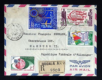 6999-CAMEROON-AIRMAIL REGIST.COVER DOUALA to HAMBURG(germany)1964.FRENCH Colonie