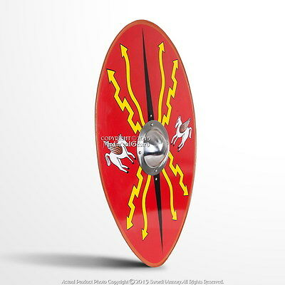 "36"" Medieval Roman Armor Oval Scutum Metal Shield with 14G Steel Umbo Boss LARP"