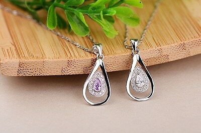 """18"""" Sterling Silver Heart Micro Pave Zirconia Pendant Chain Necklace gift box L6"""