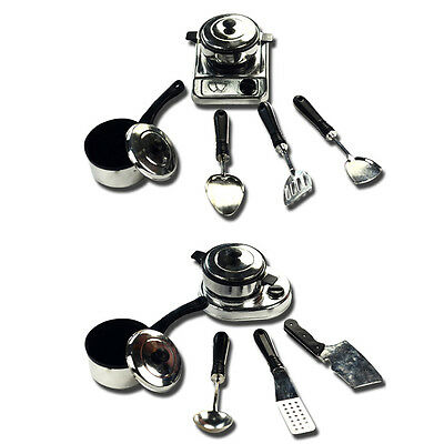 12PCS House Toy Kitchen Utensils Cooking Pots Pans Food Dishes Cookware Kid Play