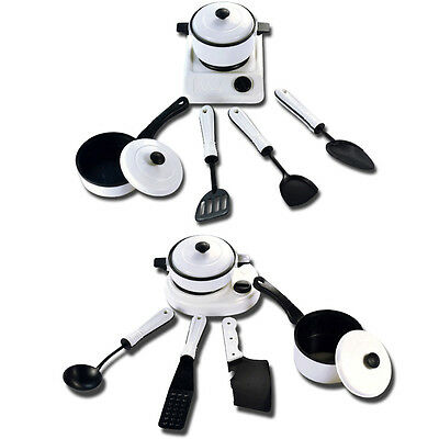 6Pcs Kids Play Toy Kitchen Utensils Pots Pans Cooking Food Dishes Cookware 1Set