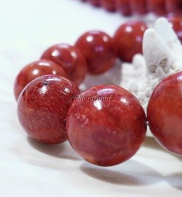 Large Apple Coral Natural Red Orange Round Bead Strand 14 MM  16""
