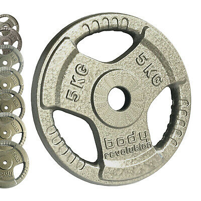 """Cast Iron Tri Grip Weight Plates 1"""" 25mm for Barbell Dumbbell Weights Disc Sets"""