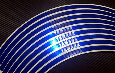 Blue CHROME Yamaha Logo Rim Stripes / Wheel Tape - R3 R6 R1 R1M MT09 MT07 MT03