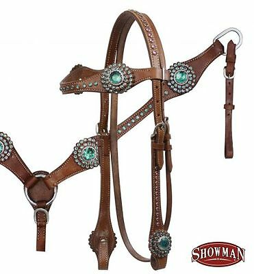 Bling ! Western Horse Show Bridle Breast Plate Collar Teal Blue Rhinestones