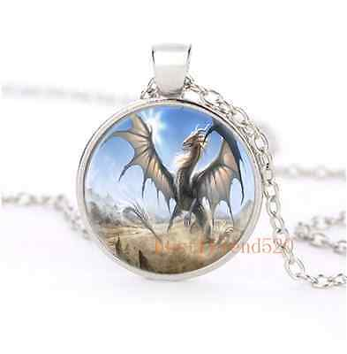 White Dragon Glass Dome Silver Necklace for men woman Jewelry#B13