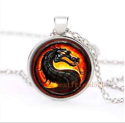 Black Dragon Glass Dome Silver Necklace for men woman Jewelry Gift#B4