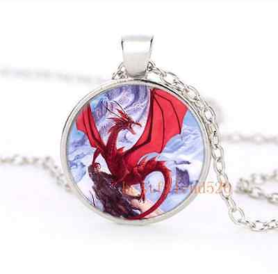 Snow Red Dragon Glass Silver Necklace for men woman Jewelry #B30