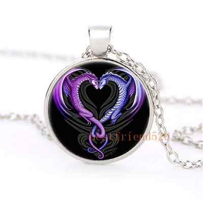 Dragon Heart Glass Dome Silver Necklace for men woman Jewelry Gift#B39