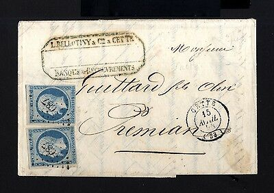 7047-FRANCE-COVER LETTER CETTE to PREMIAN.1855.NAPOLEON.20 Cts.Carta FRANCIA