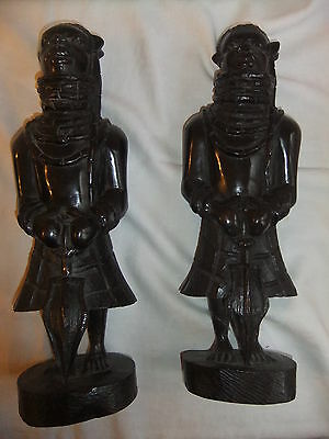 African art MESSIAH warriors 39cm tall hard wood - amazing detail - heavy