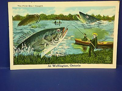 First One Caught Wellington Ontario Canada 1935 Vintage Color Postcard PC7