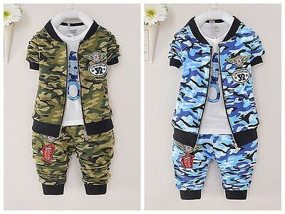 3PC Toddler Infant Baby Boys camouflage Outfits Coat+T-shirt+Pants sets Clothes