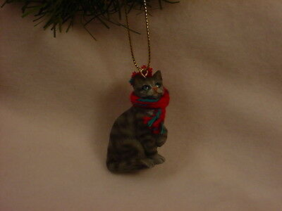 SILVER GRAY TABBY CAT Ornament HANDPAINTED Resin Figurine CHRISTMAS kitty kitten