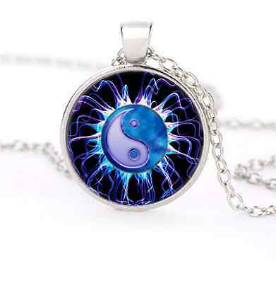 Blue Ying and Yang Glass Dome Silver Necklace for men woman Jewelry#G50