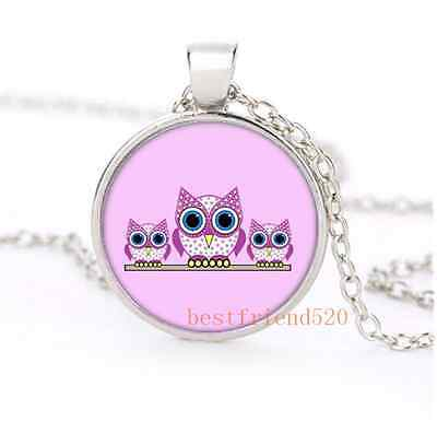 Cute Cartoon Owl Family Glass Dome Silver Necklace for men woman Jewelry#B38