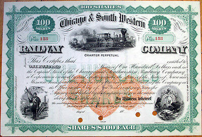 1870s Stock Certificate: 'Chicago & South Western Railway,' Imprinted Revenue RR