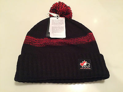 Team Canada 2016 World Juniors Hockey Toque Beanie Hat Cap OSFM Black Pom Cuffed