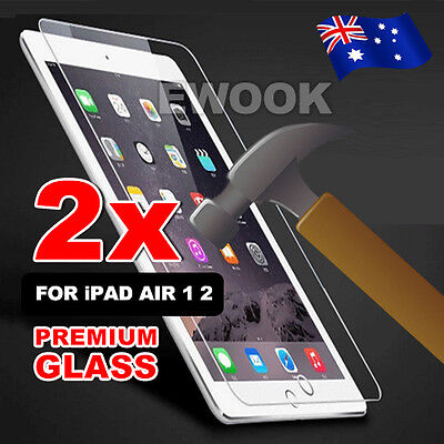 AU 2x Tempered Glass Film Guard Cover for Apple iPad Air 1 2 Screen Protector
