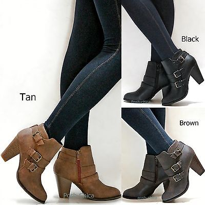 New Women FCaa Black Tan Brown Western Ankle Booties Riding Boots