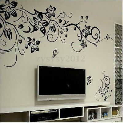 Removable Flower Vinyl PVC Art Wall Sticker Decal Mural Bedroom Home Decor DIY