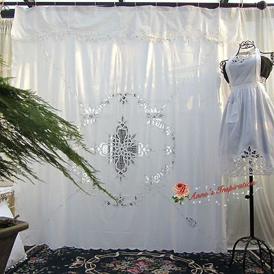 "Beautiful Battenburg Lace Shower Curtain B~White~Cotton~72""*72""~Elegant Life~"