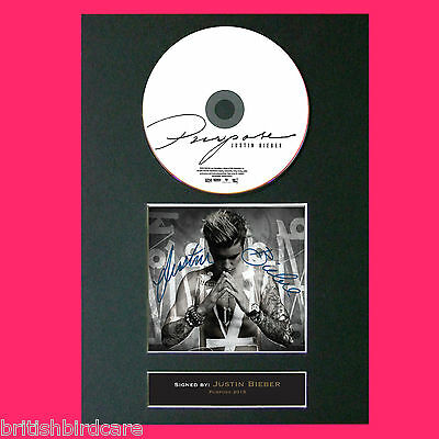 JUSTIN BIEBER Purpose Signed Album COVER Repro Cd Print A4 Photo Autograph 68