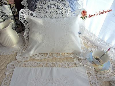 Vintage Battenburg Lace Baby Pillow Case/Back Cushion Cover~White~Cotton~Lovely~