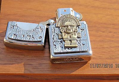 Zippo Collectable Maya Tumi Mask Special Golden Edition Lighter- Never Used New