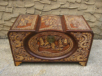 Large Antique Carved Wooden Camphor Wood Chinese Chest Trunk Dragon Figural