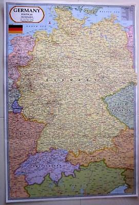 Laminated Map Of Germany Deutschland Poster Wall Chart Flag