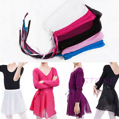 Children Chiffon Girls Dance Wear Skate Wrap Scarf Kids Ballet Tutu Dance Skirt