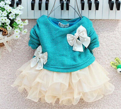 Cute Baby Girls Long Sleeve Knitted With Bow Infants Newborn Tutu Princess Dress