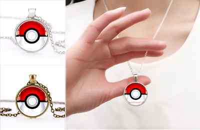 Silver/Bronze Anime Pokemon Pokeball Jewelry Glass Dome Pendant Necklace