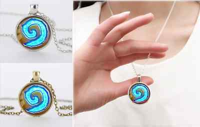 Silver/Bronze WoW World of Warcraft Hearthstone Glass Dome Pendant Necklace