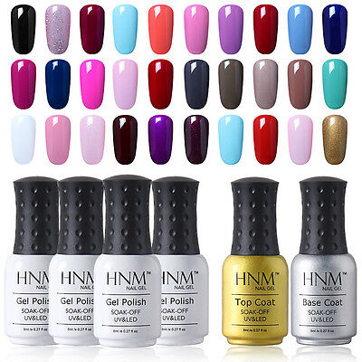 HNM Soak Off Color Gel Nail Polish Base Top Coat UV LED Manicure Lacquer 8ml New