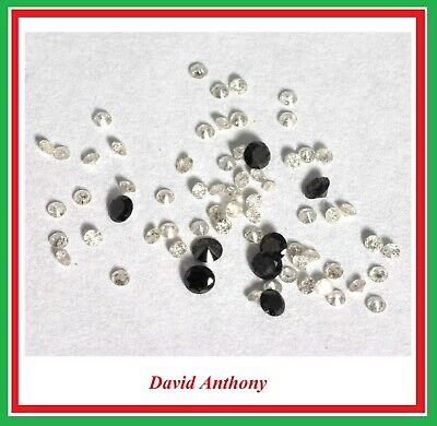 1 x Loose REAL BRILLIANT CUT DIAMOND. WHITE 1.15mm to 1.20mm or BLACK 2mm. DIA 1