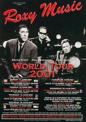ROXY MUSIC 2001 Tour UK FLYER / mini Poster 8x6 inches