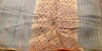 5 1/3 Yards Of Vintage Sheer Organdy Green Fabric With Peach & Gold Thread